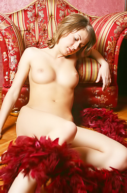She spends her day relaxing around the house naked
